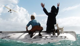 "In a scene from ""The Adventures of Tintin,"" Tintin (left), voiced by Jamie Bell; Captain Haddock, voiced by Andy Serkis; and Snowy await rescue. The film has been nominated for a Golden Globe for best animated feature. (Associated Press)"