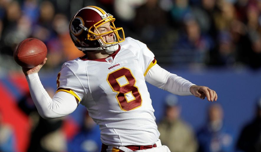 Redskins quarterback Rex Grossman threw two early interceptions last Sunday, but he rebounded to have a solid game in a 23-10 win at the New York Giants. (Associated Press)