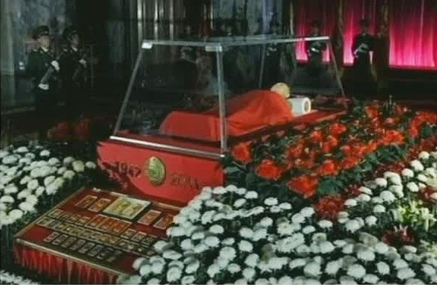 The body of North Korean leader Kim Jong-il is laid out in the Kumsusan Memorial Palace in Pyongyang, North Korea, on Tuesday, Dec. 20, 2011. (AP Photo/KRT)