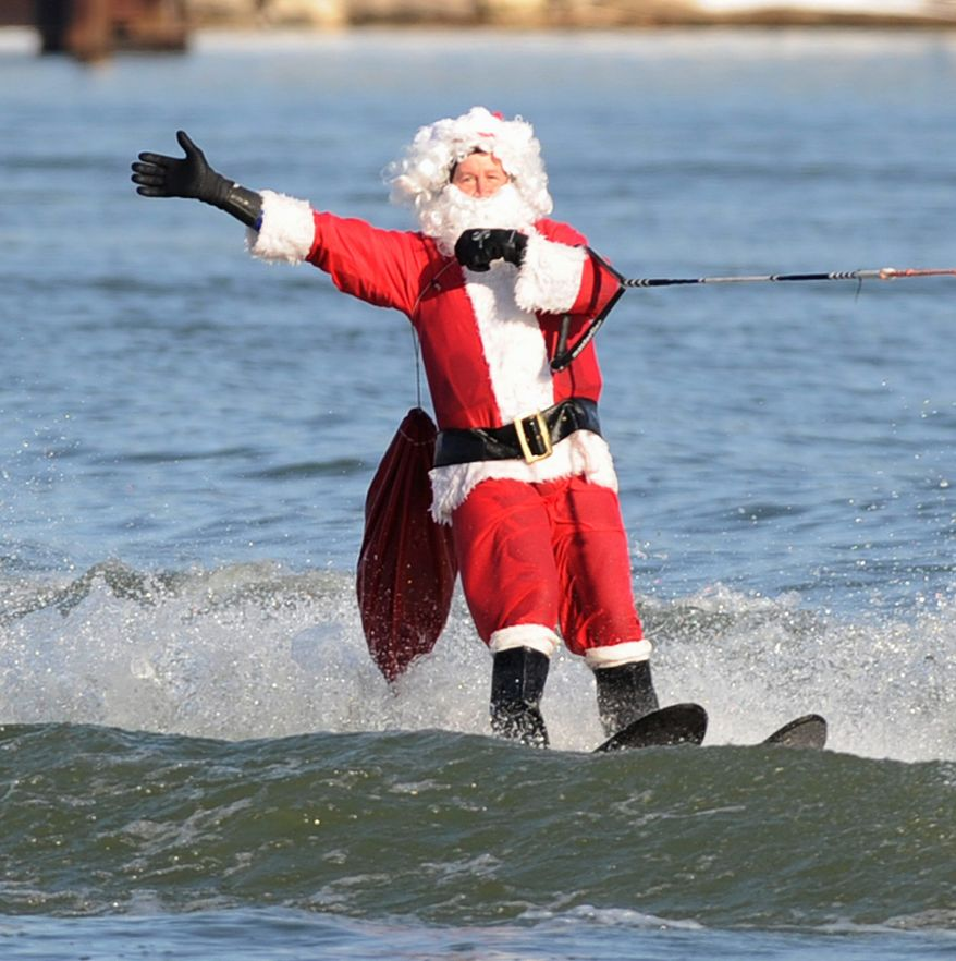 For the 26th year running, Santa and his retinue -- elves, reindeer, the Grinch, Frosty -- will take to the waters of the Potomac River for, you guessed it, water sports. Catch this year's show Saturday, Dec. 24, at National Harbor in Oxon Hill, Md.