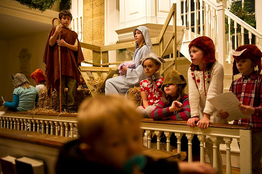 Children at Christ Church in Alexandria portray biblical characters during the church's Christmas pageant in Alexandria on Sunday, Dec. 18, 2011. (Rod Lamkey Jr./The Washington Times)