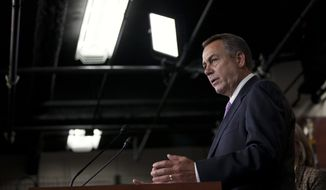 House Speaker John A. Boehner, Ohio Republican, speaks Dec. 22, 2011, about extending the payroll-tax cut during a briefing on Capitol Hill. (Associated Press)