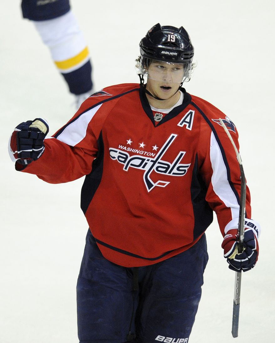 Washington Capitals center Nicklas Backstrom celebrates his goal during the first period against the Nashville Predators, Tuesday, Dec. 20, 2011, in Washington. (AP Photo/Nick Wass)