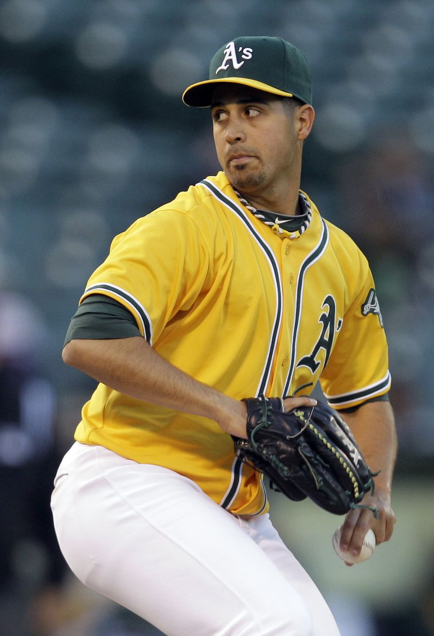 FILE - In this April 14, 2011, file photo, Oakland Athletics' Gio Gonzalez pitches against the Detroit Tigers during a game in Oakland, Calif. The Washington Nationals acquired the left-hander (pending physicals) for four prospects Thursday evening. (AP Photo/Ben Margot, File)