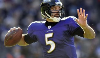 Baltimore Ravens quarterback Joe Flacco sets to throw in the first half of an NFL football game against the Cleveland Browns in Baltimore, Saturday, Dec. 24, 2011. (AP Photo/Gail Burton)