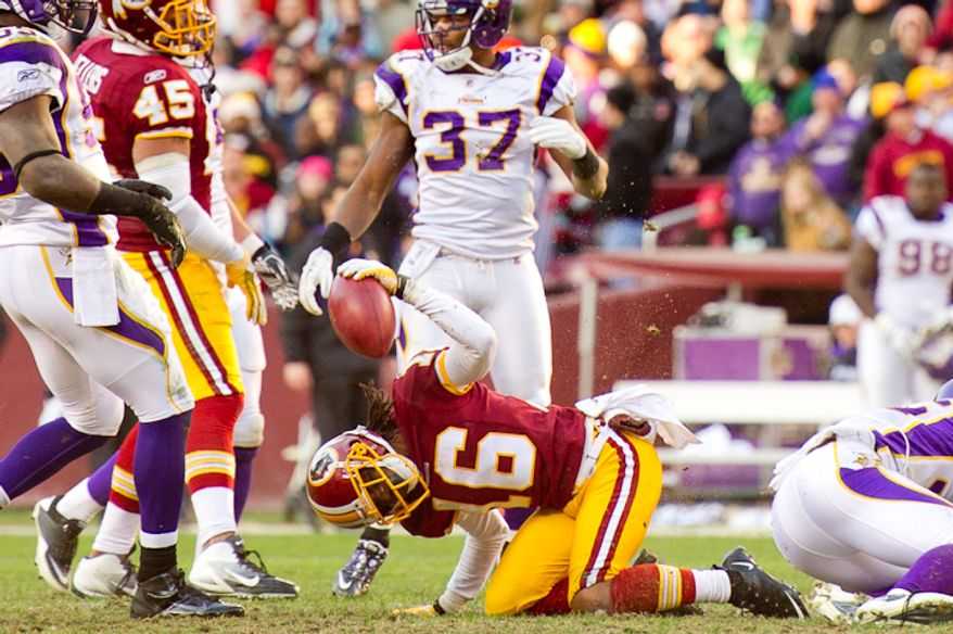 Washington Redskins wide receiver Brandon Banks (16) shows his frustration when he is stopped after a 15 yard kickoff return in the third quarter as the Washington Redskins take on the Minnesota Vikings at Fedex Field, Landover, Md., Saturday, Dec. 24, 2011. (Andrew Harnik / The Washington Times)