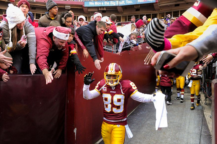 Washington Redskins wide receiver Santana Moss (89) makes his way out to the field before the Washington Redskins take on the Minnesota Vikings at Fedex Field, Landover, MD, Saturday, December 24, 2011. (Preston Keres / Special to The Washington Times)