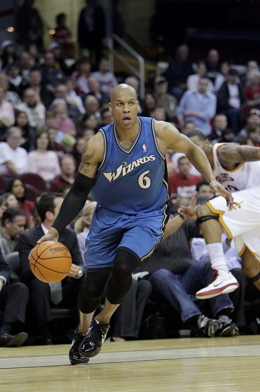 Washington Wizards' Maurice Evans drives against the Cleveland Cavaliers in an NBA basketball game Wednesday, April 13, 2011, in Cleveland. (AP Photo/Mark Duncan)