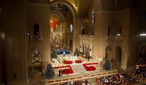 Inside the Basilica of the National Shrine of the Immaculate Conception, where a special D.C. choir will perform for Pope Francis. (Andrew Harnik/The Washington Times)