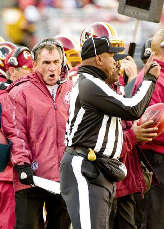 Coach Mike Shanahan is just 11-20 with one game to play in his second season in Washington. The Redskins had the NFL's oldest roster when Shanahan was hired in January 2010. (Andrew Harnik/The Washington Times)