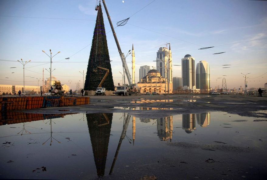 Downtown Grozny, Chechnya, is in the midst of a construction boom after the devastation of two wars. A new economic class is enjoying seemingly overnight prosperity even though 65 percent of the region's population is jobless. (Diana Markosian/Special to The Washington Times)