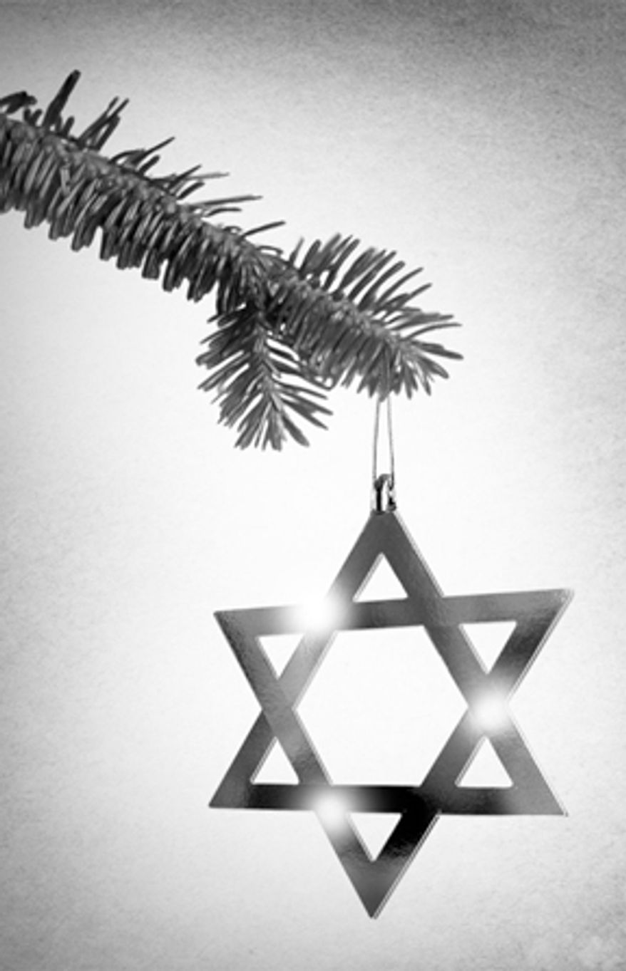 This artwork by M. Ryder relates to Hanukkah and Christmas.