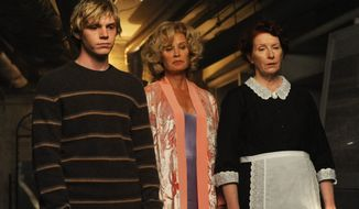 "Evan Tate, Jessica Lange and Frances Conroy (from left) are part of the cast of ""American Horror Story."" The show's first season documented the travails of the Harmon family in a 1908 mansion known as the ""Murder House"" for all the bad things that happened there. (FX via Associated Press)"
