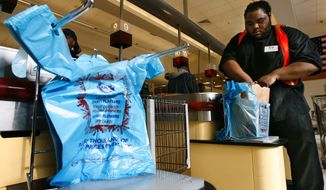 A proposal to add a nickel tax for shopping bags in Prince George's County was killed in a House committee. (Associated Press)