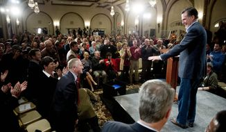 """'OUR TIME': Republican presidential hopeful Mitt Romney delivers a speech Tuesday at a hotel in Davenport, Iowa. The former Massachusetts governor said the 2012 presidential election will be """"an election to save the soul of America."""" (Andrew Harnik/The Washington Times)"""