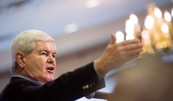 Former Speaker of the House and current Republican presidential candidate Newt Gingrich speaks to the Dubuque Rotary Club. (Andrew Harnik / The Washington Times)