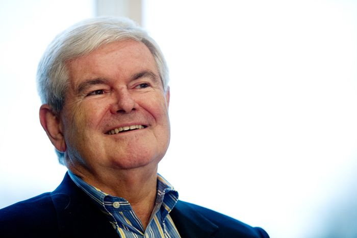 Former Speaker of the House and current Republican presidential candidate Newt Gingrich greets Iowans. (Andrew Harnik / The Washington Times)