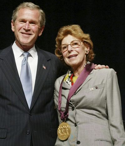 ** FILE ** Painter Helen Frankenthaler receives the National Medal of Arts from President George W. Bush during ceremonies at DAR Constitution Hall in Washington in April 2002. (AP Photo/Pablo Martinez Monsivais, File)