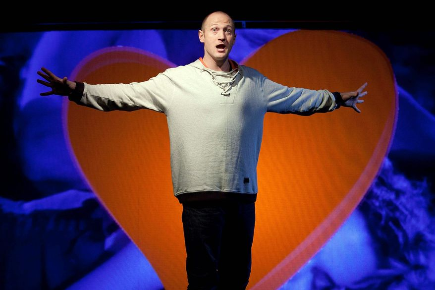 """Canadian rapper Baba Brinkman is currently rapping his version of Geoffrey Chaucer's """"The Canterbury Tales"""" at the SoHo Playhouse with music from his frequent DJ collaborator Jamie Simmonds. (Ben Hider via Associated Press)"""
