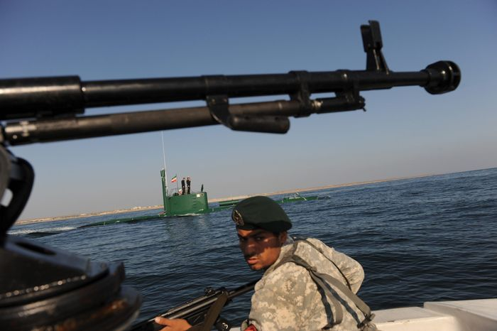 ** FILE ** The Iranian navy patrols in the Sea of Oman, which is near the strategic oil shipping routes in the Strait of Hormuz, on Wednesd