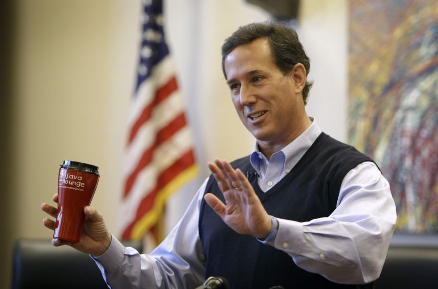 Republican presidential candidate and former Pennsylvania Sen. Rick Santorum speaks Dec. 29, 2011, during a campaign stop at the City Hall in Coralville, Iowa. (Associated Press)