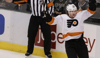 Philadelphia Flyers left wing Scott Hartnell is on pace for over 70 points this season. (AP Photo/Brandon Wade)