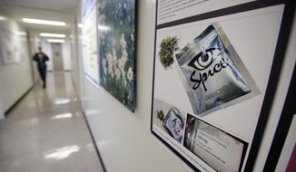 A poster warning of the effects of the drug known as 'Spice' hangs on a wall Dec. 6, 2011, at the Naval Hospital in San Diego. (Associated Press) **FILE**