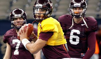 Virginia Tech quarterback Logan Thomas said the Hokies had fun for a few days in Louisiana, but now their focus is on football. They face Michigan in Tuesday night's Sugar Bowl. (Associated Press)