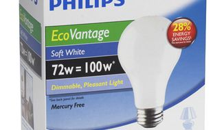 This product image courtesy of Philips Lighting shows a Philips EcoVantage Soft White 72 watt bulb. New federal standards were to kick in after the New Year requiring 100-watt bulbs to be more energy efficient. Then Congress, in a bill passed to keep the government running, blocked enforcement of the new law until October 2012. (AP Photo/Philips Lighting)