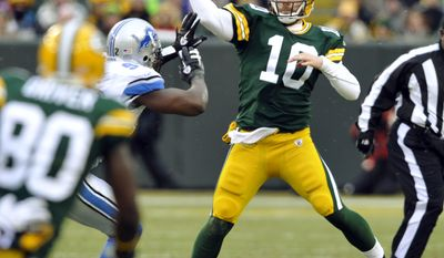 Green Bay Packers quarterback Matt Flynn (10) throws during the first half of an NFL football game against the Detroit Lions Sunday, Jan. 1, 2012, in Green Bay, Wis. (AP Photo/Jim Prisching)