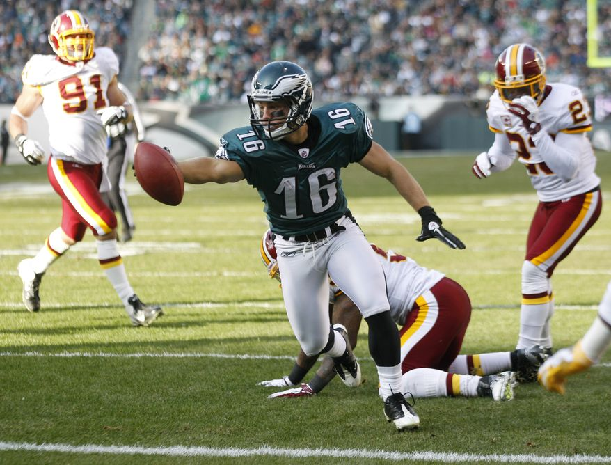 Philadelphia Eagles wide receiver Chad Hall (16) reaches for a touchdown during the first half of an NFL football game against the Washington Redskins, Sunday, Jan. 1, 2012, in Philadelphia. (AP Photo/Mel Evans)