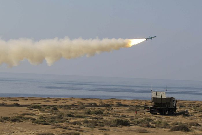 A Ghader missile is launched Jan. 2, 2012, at the shore of sea of Oman during Iran's navy drill. Iran test-fired a surface-to-surface cruise missile during a drill that the country's navy chief said proved Tehran was in compl