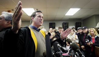 Republican presidential candidate and former Pennsylvania Sen. Rick Santorum speaks Jan. 2, 2012, during a campaign stop at the Rising Sun Cafe in Polk City, Iowa. (Associated Press)