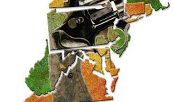 Illustration: State gun laws by Greg Groesch for The Washington Times