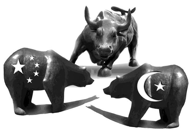 Illustration: Economic warfare by John Camejo for The Washington Times