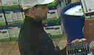 This undated image made from surveillance video shows an unidentified male who police suspect is one of two people involved in the killing of an elderly couple in their Utah home and shooting a woman in the head outside a Nevada casino. (Associated Press/West Wendover Police Department)