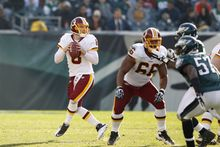 Redskins guard Chris Chester (66) was the most consistent offensive lineman in the season finale against the Eagles. (AP Photo/Mel Evans)