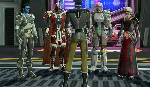 Characters receive a mission briefing in the PC video game Star Wars: The Old Republic.