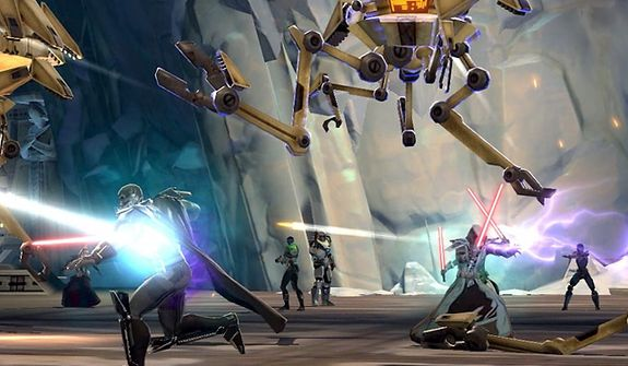 A battle rages on in the PC video game Star Wars: The Old Republic.