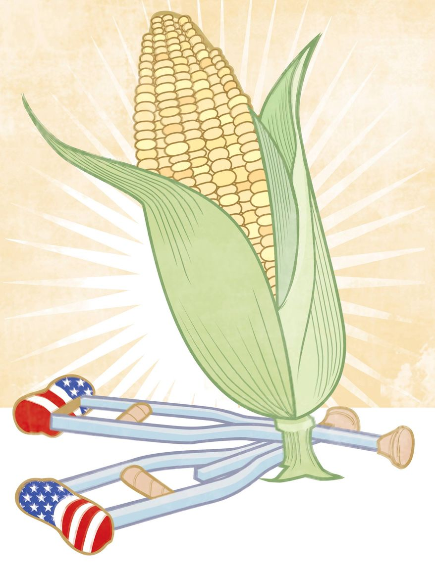 Illustration: The corn crutches by Linas Garsys for The Washington Times