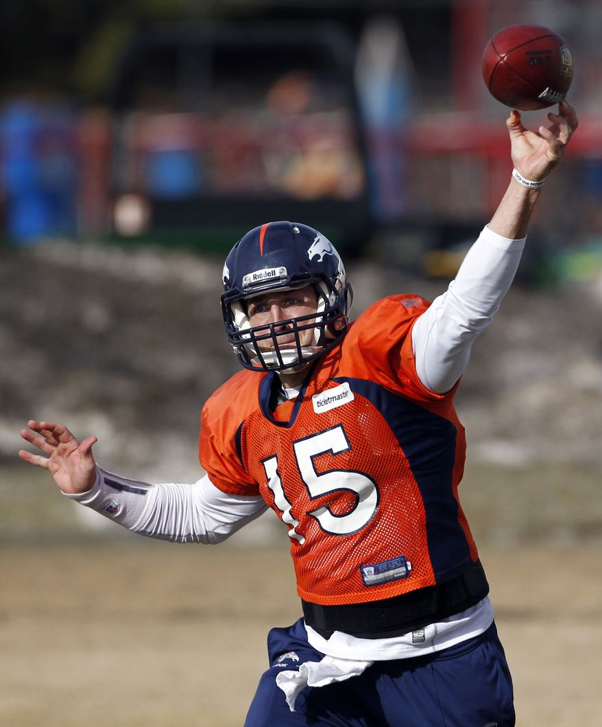 Denver Broncos quarterback Tim Tebow throws a pass during practice in Englewood, Colo., on Wednesday, Jan. 4, 2012. The Broncos are scheduled to host the Pittsburgh Steelers on Sunday in a wild-card playoff game. (AP Photo/Ed Andrieski)
