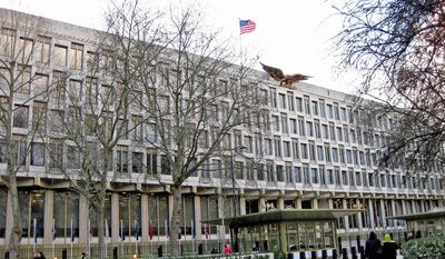 "The Financial Times referred to the U.S. Embassy being built in London as the ""glazed green cube embassy."" (State Department photo)"