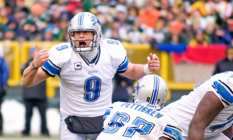 Detroit Lions QB Matthew Stafford passed for 5,038 yards, third in the NFL, and 41 touchdowns, also third in the NFL. (Associated Press)
