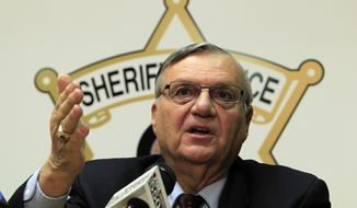 FILE - In this file photo from Dec. 5, 2011, Maricopa County Sheriff Joe Arpaio discusses the latest in the document release on his office's handling of many sexual assault cases over the years in El Mirage, Ariz., during a news conference in Phoenix. (AP Photo/Ross D. Franklin)