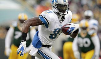 Detroit Lions wide receiver Calvin Johnson had 96 catches, 1,681 yards and 16 touchdowns this season. (Associated Press)