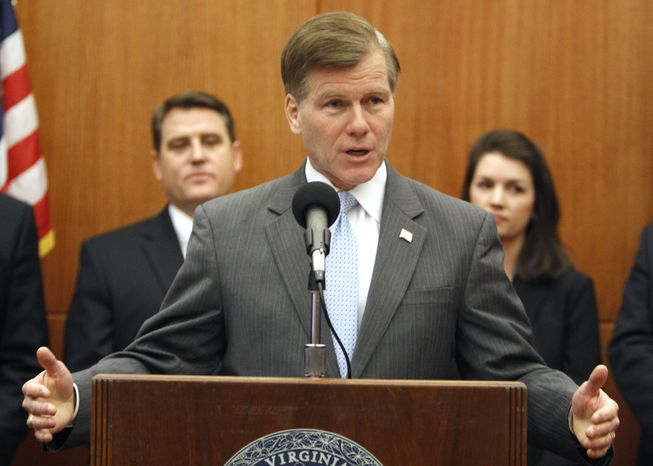 Virginia Gov. Bob McDonnell gestures as he announces his legislative agenda during a news conference at the Capitol in Richmond, Va., Wednesday