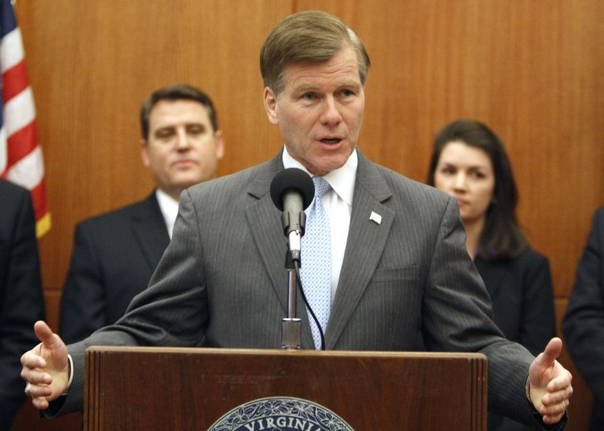 Virginia Gov. Bob McDonnell gestures as he announces his legislative agenda during a news conference at the Capitol in Richmond, Va., Wednesday, Jan. 4, 2012. (AP Photo/Steve Helber)