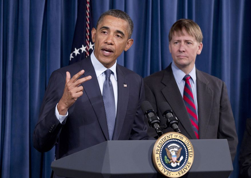 President Obama visits the new Consumer Financial Protection Bureau director Richard Cordray (right) on Jan. 6, 2012, at the CFPB's offices in Washington. (Associated Press)
