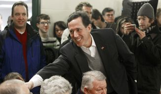 Republican presidential candidate and former Pennsylvania Sen. Rick Santorum campaigns Jan. 6, 2012, at the Keene Public Library in Keene, N.H. (Associated Press)