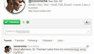 Coco Rocha communicates with her fans by using Twitter. Models are using social media in order to build their own profiles. (Associated Press)